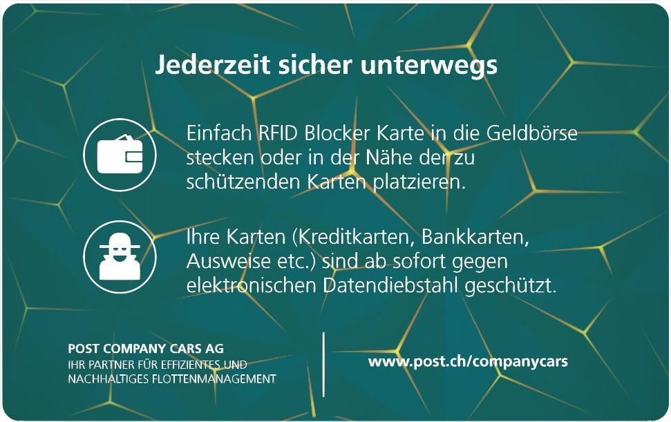 RFID Anti Skimming Card als Werbemittel Post Beispiel von Twing 2