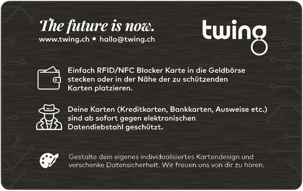 RFID Blocking Karte von Twing als Werbeartikel mit Logo bedrucken lassen 2